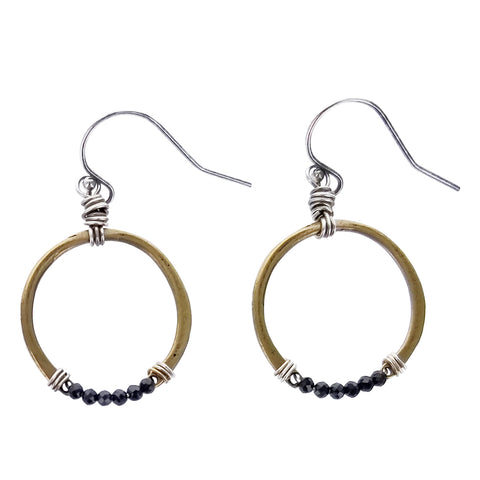 Original Hardware Black Spinel Gold Hoop Earrings
