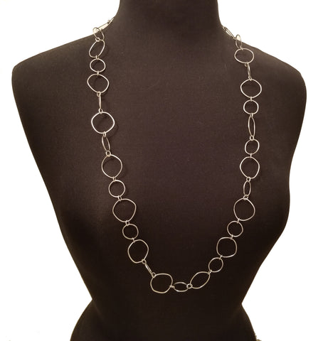 Original Hardware Bohemian Sterling Silver Layering Hoops Necklace Full View