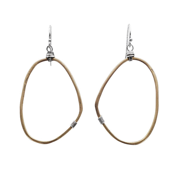 Original Hardware Freeform Wrapped Mixed Metal Hoop Earrings