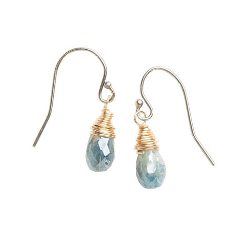 Original Hardware Kyanite Wire Wrap Drop Earrings