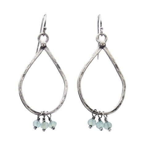 Original Hardware Sterling Teardrop Hoops With Chalcedony Drops