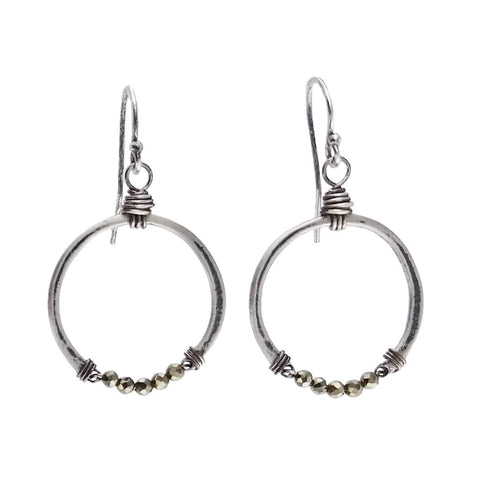 Original Hardware Sterling Pyrite Hoop Earrings