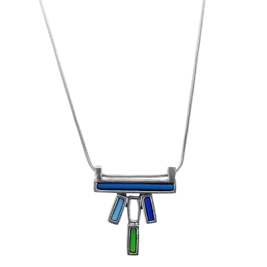 fair long imports trade green bone india jewelry necklace serrv chain brass square simple beads bead blue