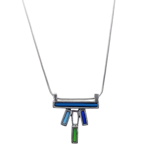 Osmose Blue Green Turquoise Bar Necklace