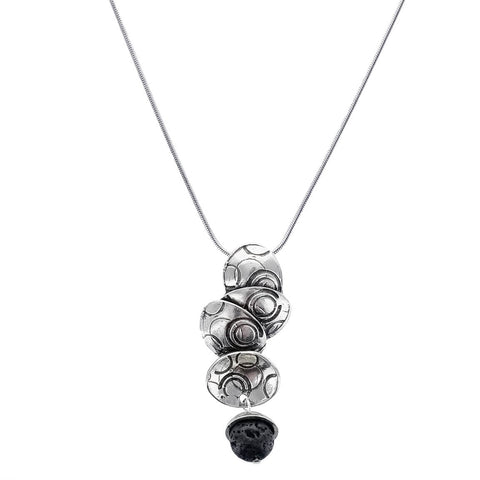 Osmose Cascading Etched Ovals Lava Bead Necklace