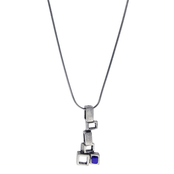 Osmose Silver Multi Square Blue Pendant Necklace