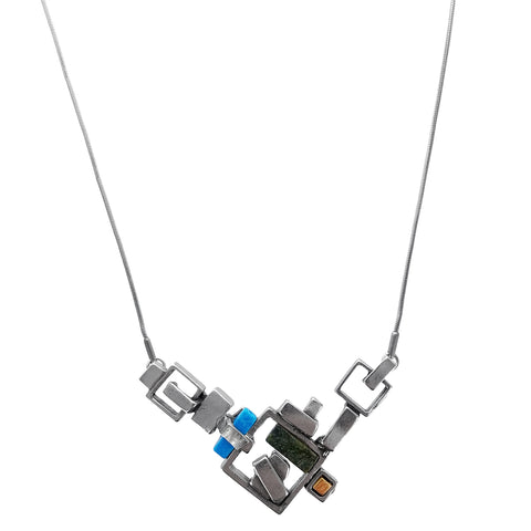 Osmose Squares Stones Glass Necklace