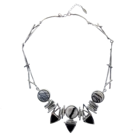 Osmose Stone Circles Glass Triangles Necklace