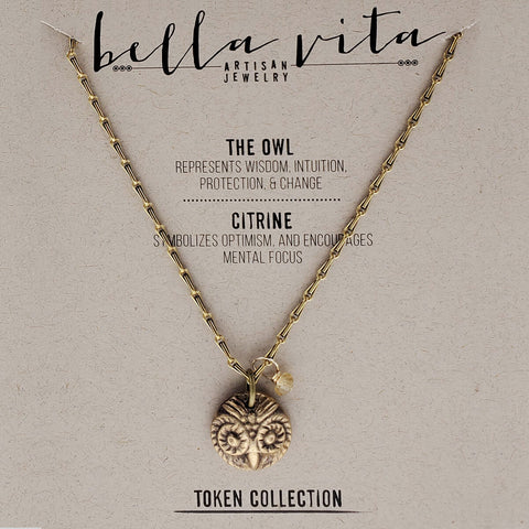 Owl Wisdom Citrine Optimism Protection Necklace