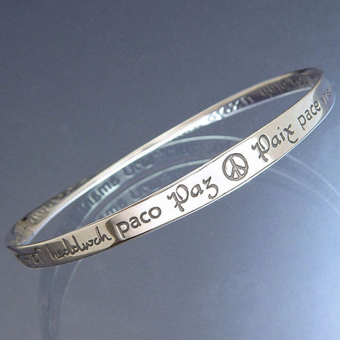 Peace in Forty Languages Mobius Bracelet