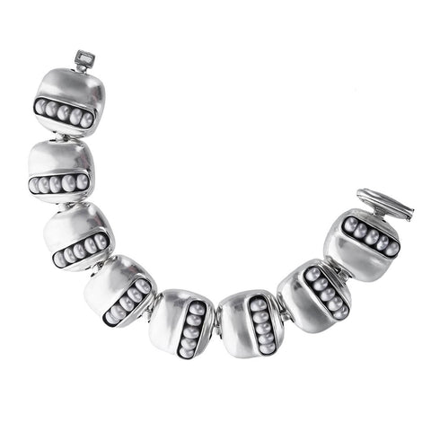 Pearls in Pod Sterling Squares Bracelet