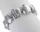 Pearls in Pod Sterling Squares Bracelet Being Worn