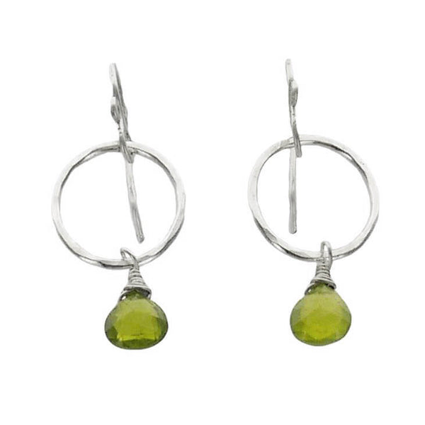 Peridot Drop Hoop Earrings
