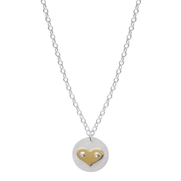 Petite Gold Heart On Round Sterling Necklace