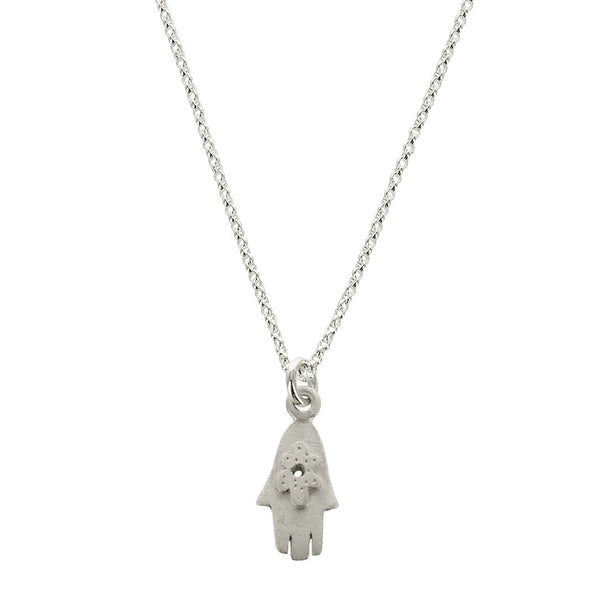 Petite Hamsa Sterling Silver Necklace