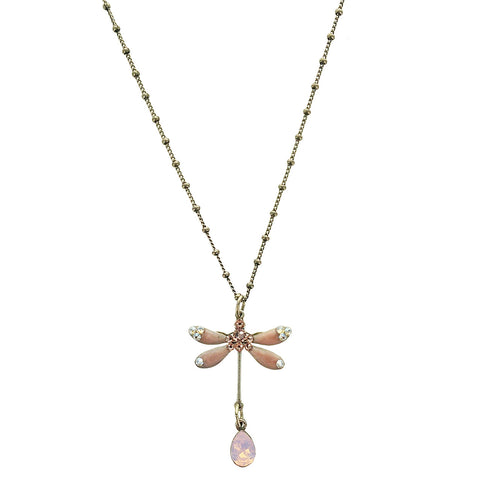 Pink Crystal Dragonfly Necklace
