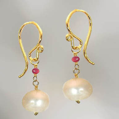 Pink Ruby Ivory Pearl Earring