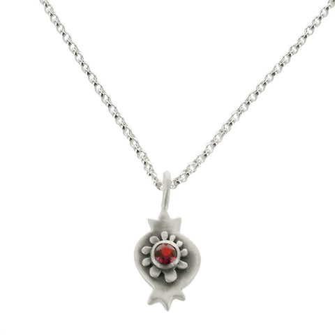 Pomegranate Sterling Silver Necklace With Garnet