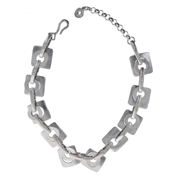 Cyclope Linked Squares Circles Punky Necklace