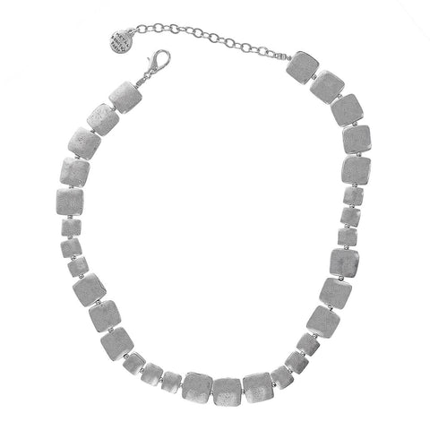 Metal Pointus Silver Organic Squares Eker Necklace