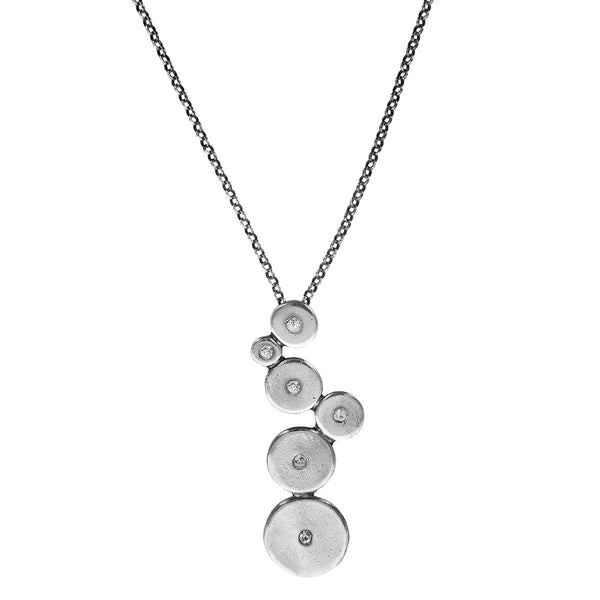 Metal Pointus Organic Circles With Crystals Gena Necklace