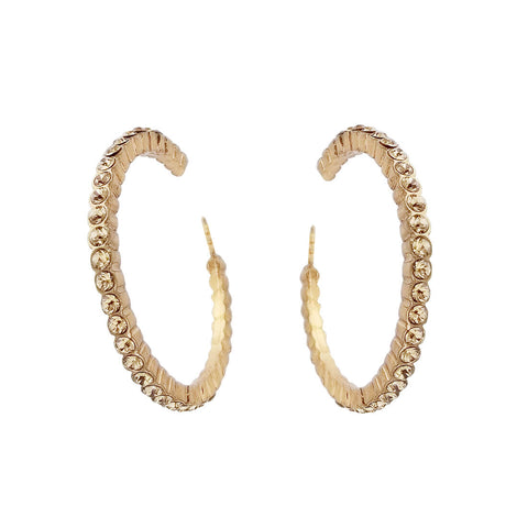 Potluck Paris Gold Topaz Crystal Janet Hoop Earrings Head On View