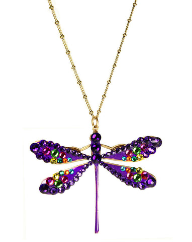 Purple Dragonfly Colorful Wings Necklace