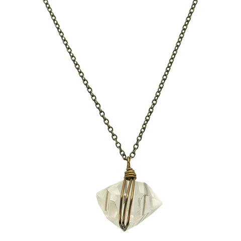 Edgy Petal Long Chain Quartz Crystal Necklace