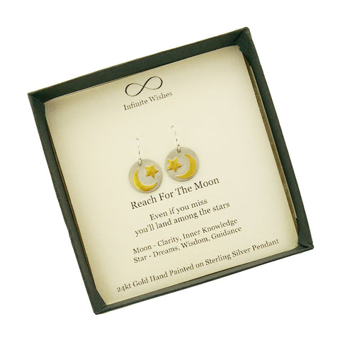 Reach For The Moon Land Among the Stars Earrings In Gift Box