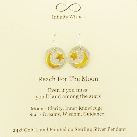 Reach For The Moon Land Among the Stars Earrings On Card