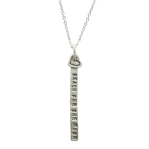 Reach For The Moon Sterling Tab Heart Necklace