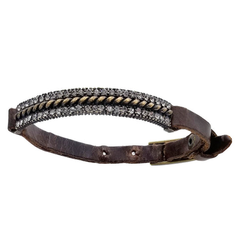Rebel Black Diamond Brass Braid Bracelet