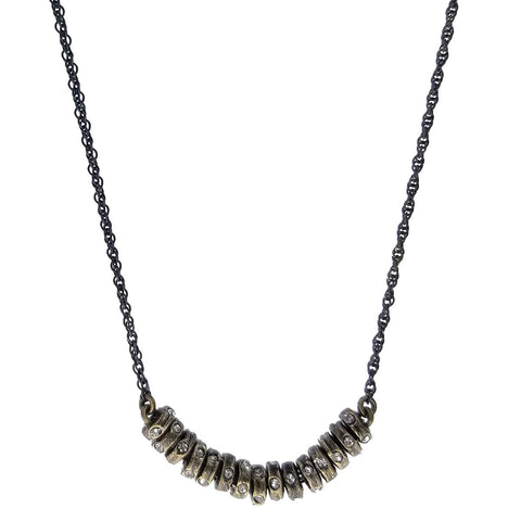 Rebel Black Diamond Crystal Discs Necklace