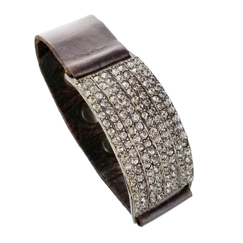 Rebel Designs Black Diamond Band Leather Bracelet View 2