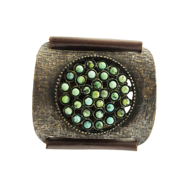 Rebel African Turquoise Circle Textured Brass Leather Bracelet