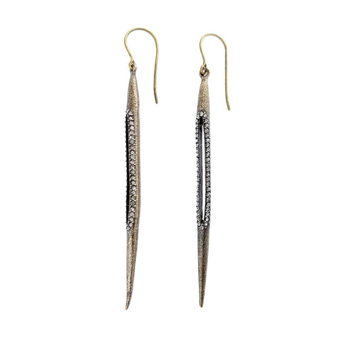 Rebel Designs Slender Crystal Open Stick Earrings