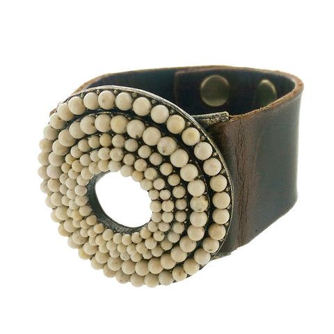 Rebel Round Riverstone Leather Bracelet Side View