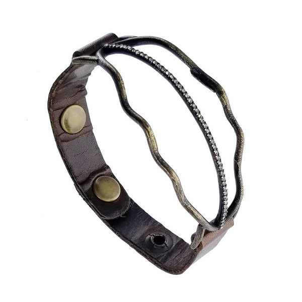 Rebel Designs Crystal Arch Leather Bracelet