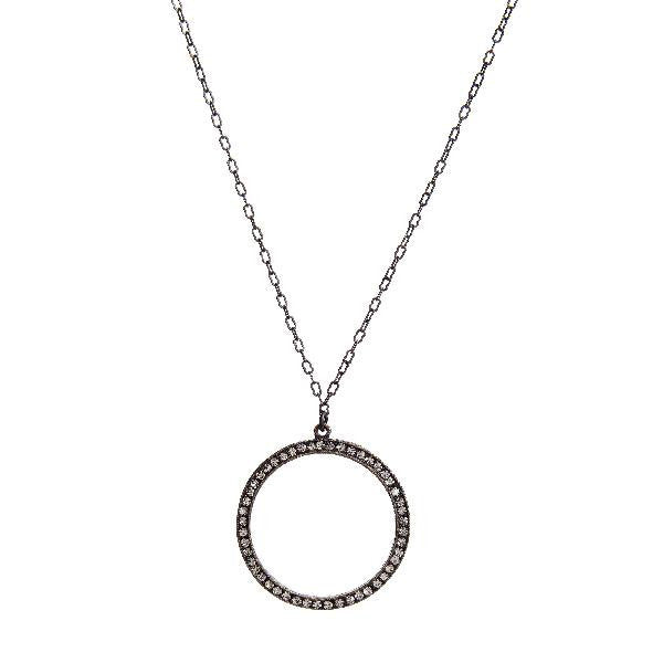 Rebel Designs Open Circle Crystal Pendant Necklace