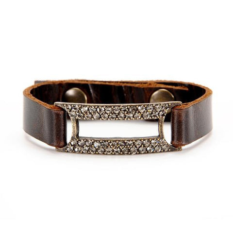 Rebel Designs Open Rectangle Crystals Leather Bracelet