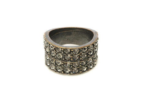 Rebel Designs Four Rows Crystal Brass Ring