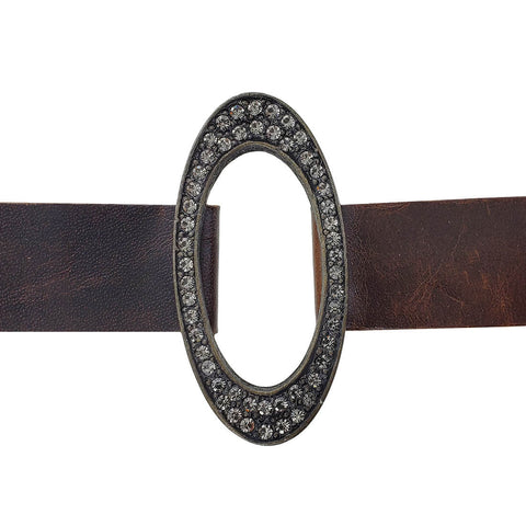 Rebel Designs Graceful Open Oval Leather Crystal Bracelet Another View