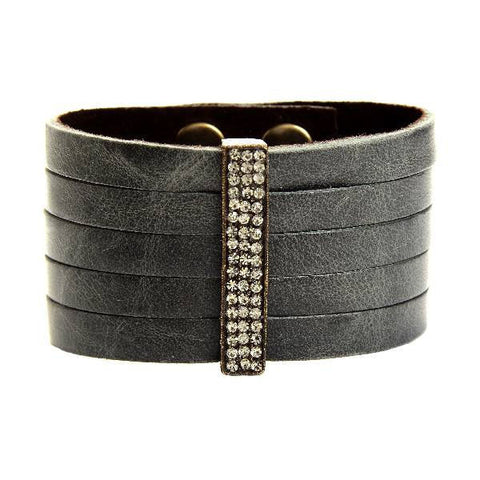 Rebel Black Leather Strips Crystal Bar Bracelet
