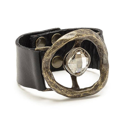 Rebel Designs Organic Hoop Crystal Center Leather Bracelet