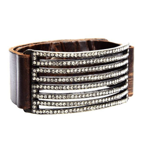 Rebel Designs Rounded Black Diamond Crystal Strips Bracelet