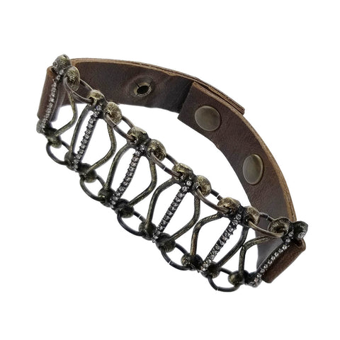 Rebel Designs Brass Crystal Leather Bridge Bracelet