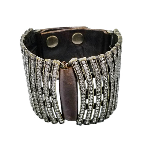 Rebel Designs Double Curved Bar Crystals Leather Bracelet View 2