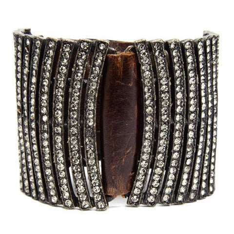 Rebel Designs Double Curved Bar Crystals Leather Bracelet