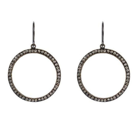 Rebel Designs Black Diamond Crystal Hoop Earrings