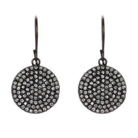 Rebel Designs Round Sparkling Crystal Earrings